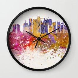 Riyadh V2 skyline in watercolor background Wall Clock