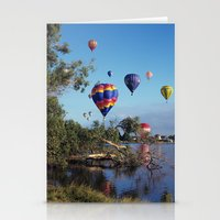 hot air balloon Stationery Cards featuring Hot air balloon scene by Bruce Stanfield