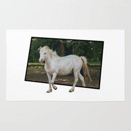 white horse in the farm Rug
