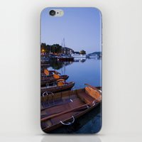 rowing iPhone & iPod Skins featuring Rowing boats at Waterhead at dawn twilight. Lake Windermere, Lake District, Cumbria, UK by liamgrantfoto