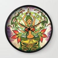 goddess Wall Clocks featuring Goddess by Divya Suvarna
