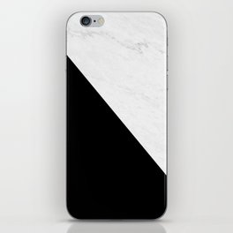 Marble And Black Diagonal iPhone Skin