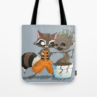 rocket raccoon Tote Bags featuring Rocket Raccoon & Baby Groot by Whimsette