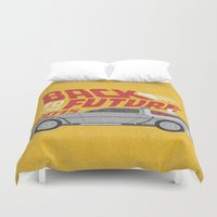 delorean Duvet Covers featuring The future is coming by Beardy Graphics