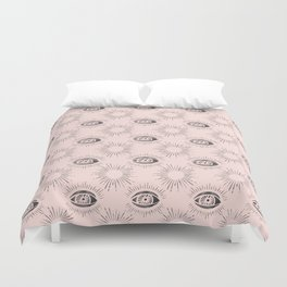 Sun and Eye of wisdom pattern - Pink & Black - Mix & Match with Simplicity of Life Duvet Cover