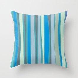 Retro Stripes Ocean Blues Throw Pillow