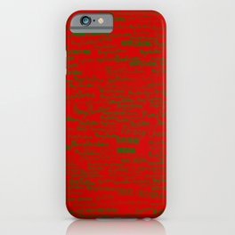 Merry Christmas, green on red iPhone Case