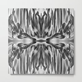 277 - Black & White Abstract Flower design Metal Print