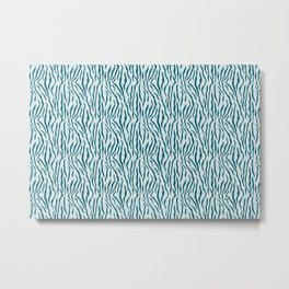 Dark Teal Tiger Stripe Pattern on Pale Blue Inspired by Sherwin Williams 2020 Trending Color Oceanside SW6496 Metal Print
