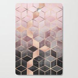 Pink And Grey Gradient Cubes Cutting Board