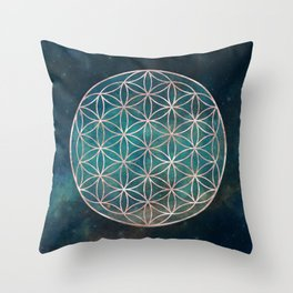 Mandala Flower of Life Rose Gold Space Stars Throw Pillow