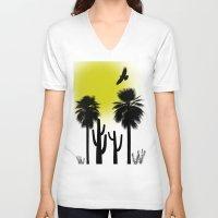 desert V-neck T-shirts featuring desert by Bamse