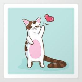 Fatty Catty saying HI Art Print