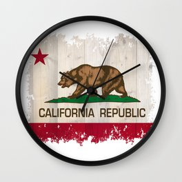 California Republic flag on woodgrain   Wall Clock