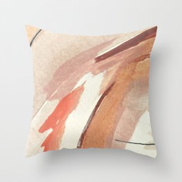 Aly: minimal | pinks | white | black | mixed media | abstract | ink | watercolor | wall art Throw Pillow