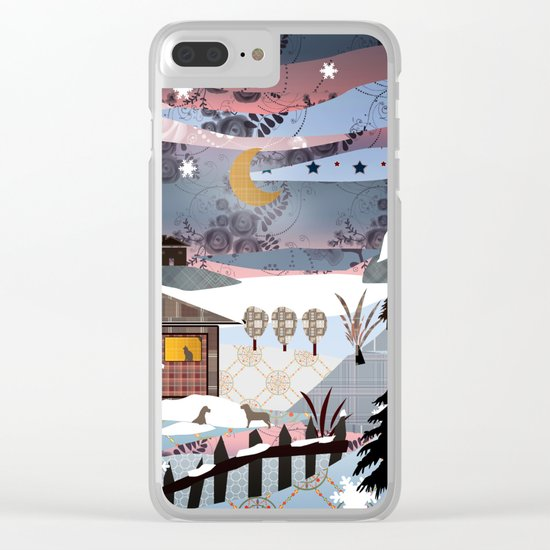 Digital illustration of Winter evening . Quilting. Patchwork . Clear iPhone Case