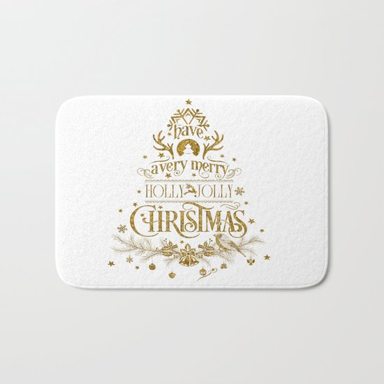 Holly Jolly Christmas- Gold Glitter Typography Bath Mat