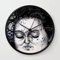laura palmer Wall Clocks featuring Laura Palmer by Drawn by Nina