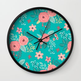 Vintage Antique Floral Flowers Green Teal Wall Clock