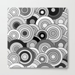 African Style No20, Black and White Metal Print
