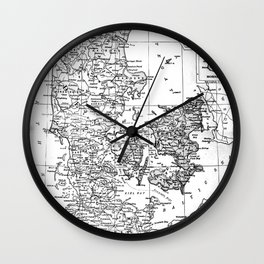 Vintage Map of Denmark (1905) BW Wall Clock