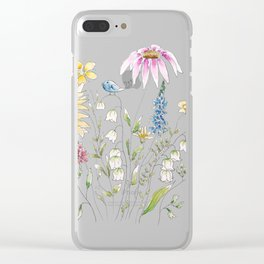 wild flowers and blue bird _ink and watercolor 1 Clear iPhone Case
