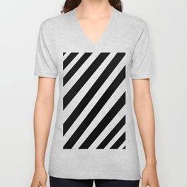 Narrow black and white stripes Unisex V-Neck