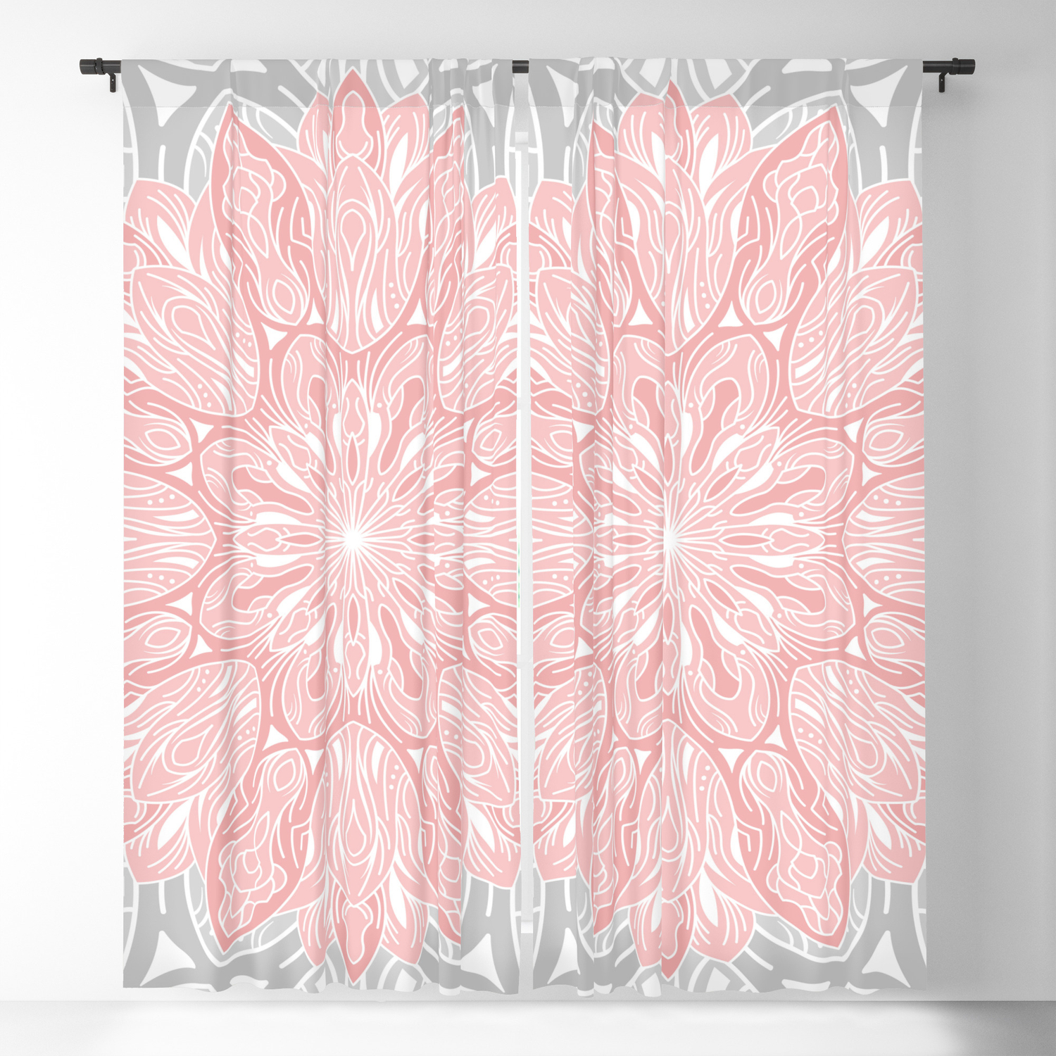 Mandala In Grey And Pink Blackout Curtain By Magic Dreams Society6