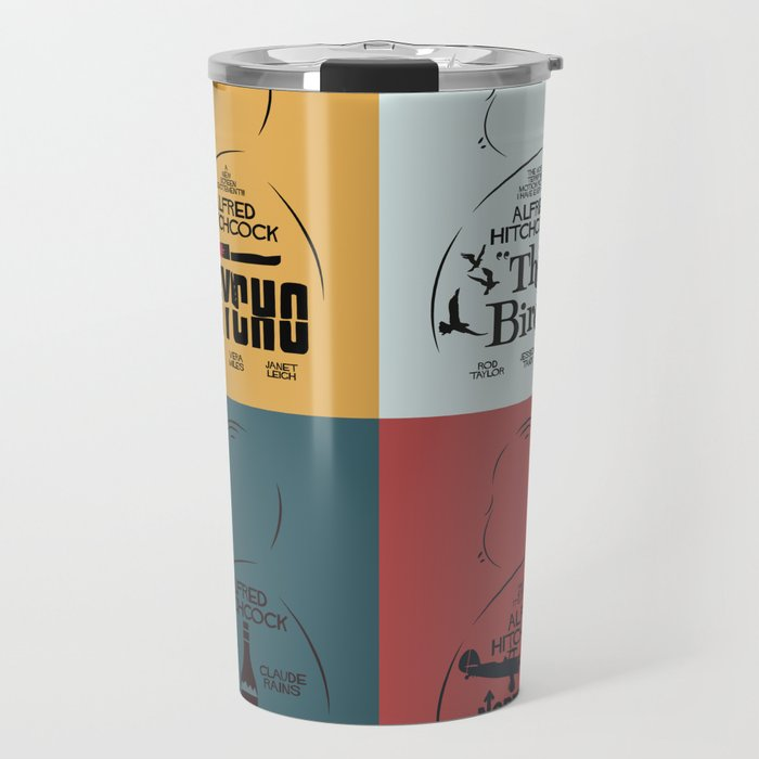 Four Hitchcock movie poster in one (Psycho, The Birds, North by Northwest, Notorious), cinema, cool Travel Mug