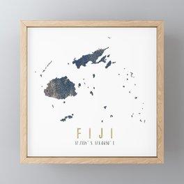 Fiji Map // Blue and Gold Metallic Dots Framed Mini Art Print