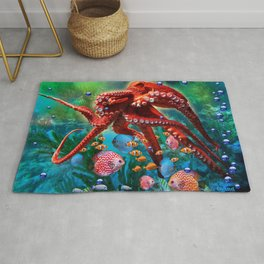 Red Octopus with Fish Rug