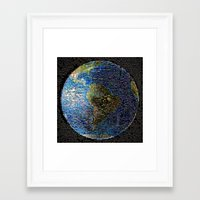 earth Framed Art Prints featuring Earth  by 2sweet4words Designs