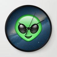 emoji Wall Clocks featuring Alien Emoji by Nolan Dempsey