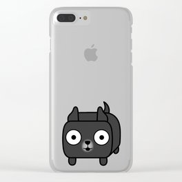 Pitbull Loaf - Black Pit Bull with Cropped Ears Clear iPhone Case
