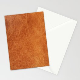 Farmhouse Style Original Camel Leather Oriental Design. Stationery Cards