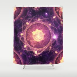 Emblazoned Gold & Royal Purple Mandala of the Stars Shower Curtain