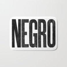 Voy de negro — Letterpress (White) Bath Mat