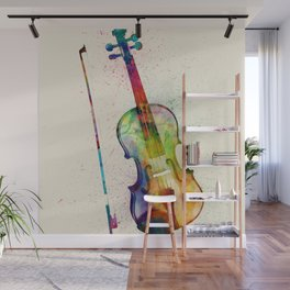 Violin Abstract Watercolor Wall Mural