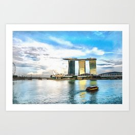 Hotel Marina Bay Sands and ArtScience Museum, Singapore Art Print