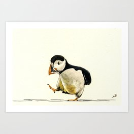 Puffin walking Art Print