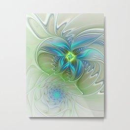 Flying Away, Abstract Shining Fractal Art Metal Print