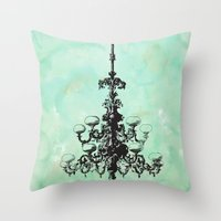 chandelier Throw Pillows featuring chandelier by jennifer tough