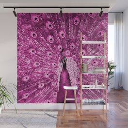 Pink Peacock Wall Mural