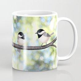 2 black-capped chickadees - bokeh Coffee Mug