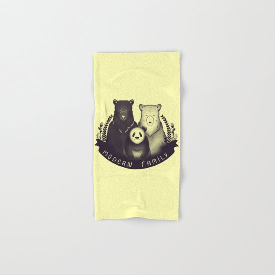 Modern Bear Family (Yellow) Hand & Bath Towel
