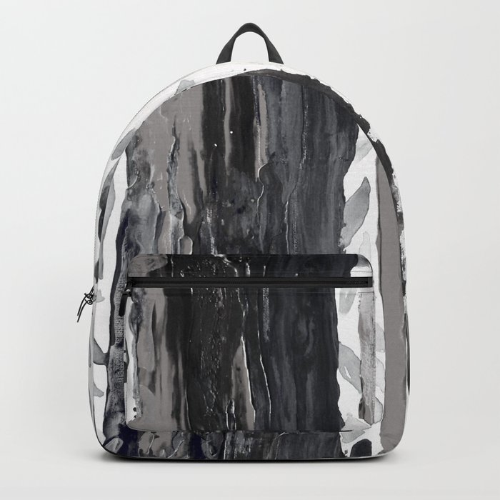 Rainbow Eucalyptus Graffiti artist tree from shedding bark South Pacific Black and White Night Backpack