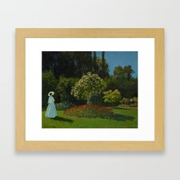 Lady in the garden Framed Art Print
