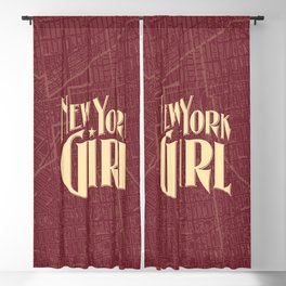 New York Girl BURGUNDY / Vintage typography redrawn and repurposed Blackout Curtain