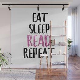 Eat Sleep Read Repeat Pink Wall Mural