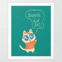 bonjour Art Prints featuring Bonjour by AronDraws